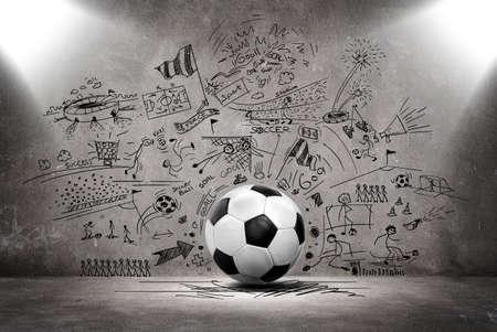 3 d のサッカー ボールとサッカー落書き