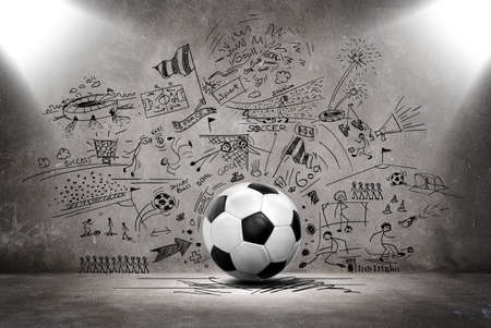 soccer doodle with 3d soccer ball