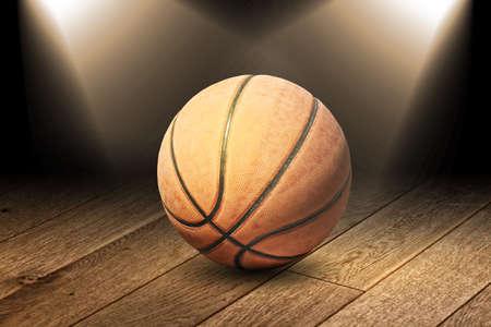 Basketball on the floor photo
