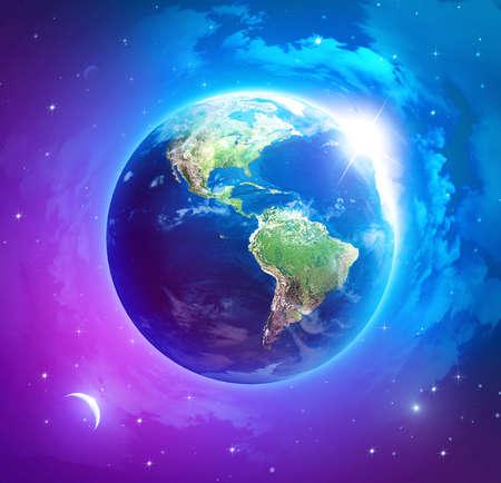 Planeet aarde met de zon stijgt boven Amerika
