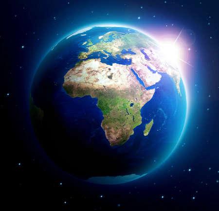 rising of sun: Tierra del planeta con salida del sol sobre Asia