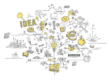 investment ideas: Business doodles Stock Photo