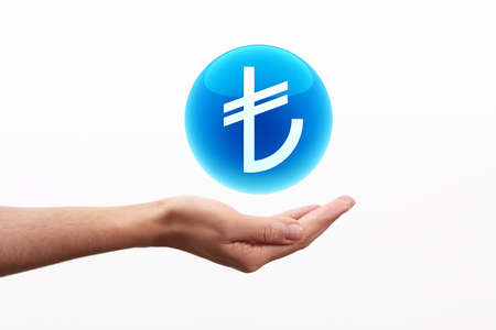turkish lira: Turkish Lira symbol on hand Stock Photo