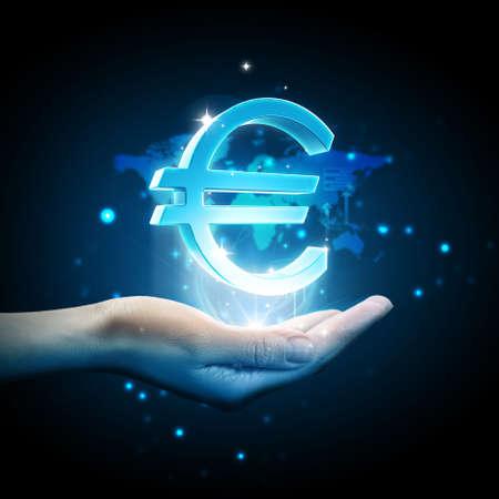 3d Euro icon on hand photo