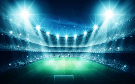futbol: Stadium at night Stock Photo