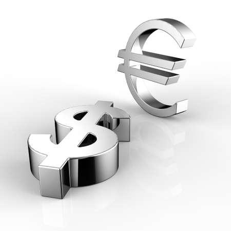 dolar: 3d Euro y símbolo del dólar