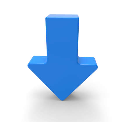 arrow sign: 3d blue arrow, downwards