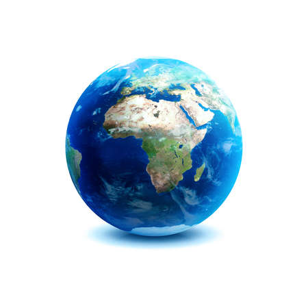 Planet earth over Asia on white background  photo