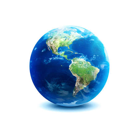 Planet earth over America on white background  photo
