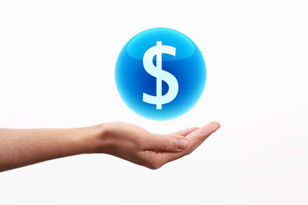blue sphere: Dollar Symbol in Blue sphere on hand Stock Photo