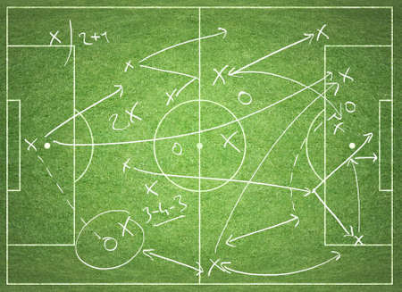 soccer coach: Soccer tactics Stock Photo