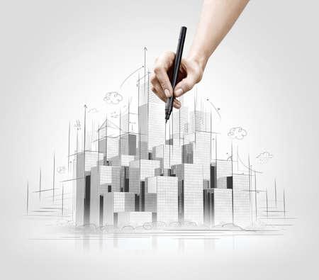 edificio industrial: Gráfico de la mano de la escena urbana. Concepto de construcción