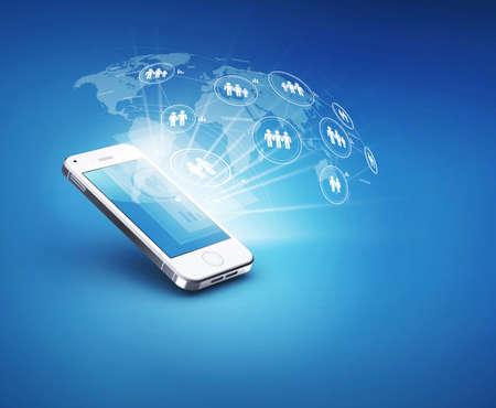 mobile communication: Modern communication technology illustration with mobile Stock Photo