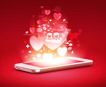 girl in love: modern phone love concept