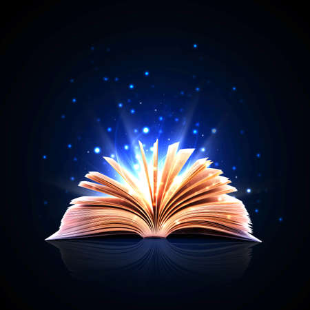 holy book: Magic book with magic lights