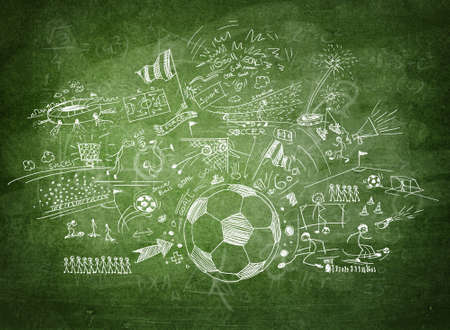 soccer game: Blackboard soccer concept Stock Photo