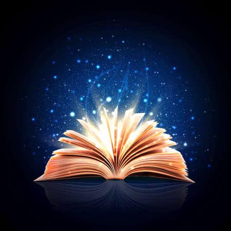 magie: Livre magique avec des lumi�res magiques