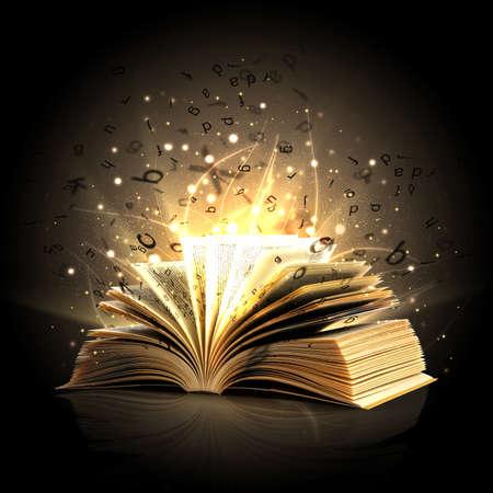 Libro mágico abierto con la magia de luces