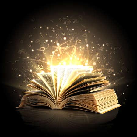 Ouvert livre magique avec des lumières magiques