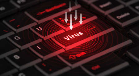 computer message: computer virus from internet, with message on enter key Stock Photo