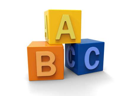 alphabet blocks: 3d alphabet blocks Stock Photo