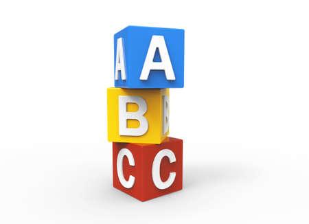 blue 3d blocks: 3d alphabet blocks Stock Photo