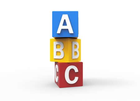 basic letters: 3d alphabet blocks Stock Photo