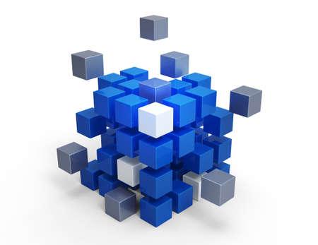 흰색 배경에 3D 큐브