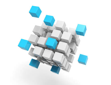 blue: 3d cubes on white background Stock Photo
