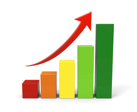orange arrow: 3d rising graph
