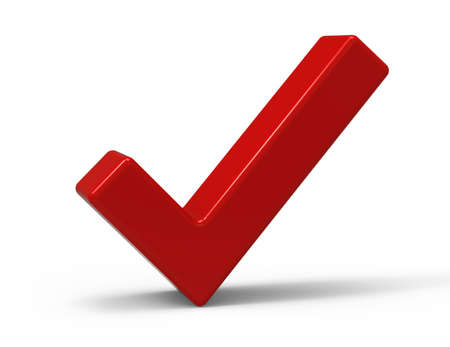 right angled: 3d Red Check Mark