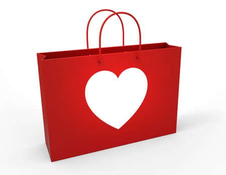 Heart on shopping bag photo
