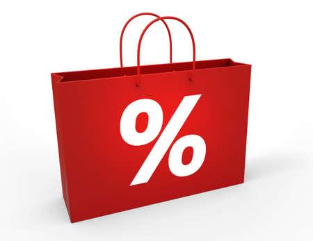 paperbag: Percent symbol on red shopping bag