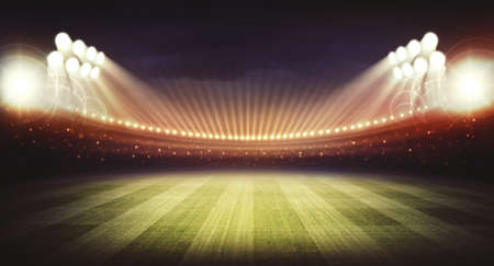 terrain foot: Stade nuit Banque d'images
