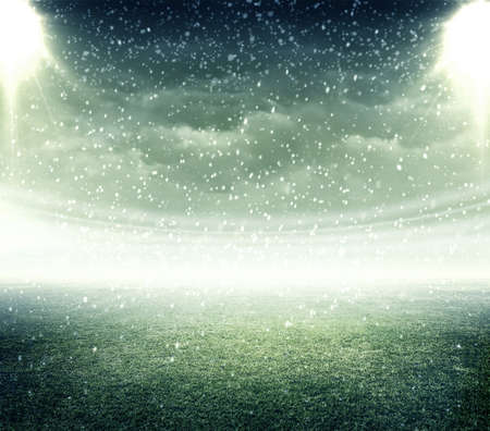 snowing: Stadium snowing