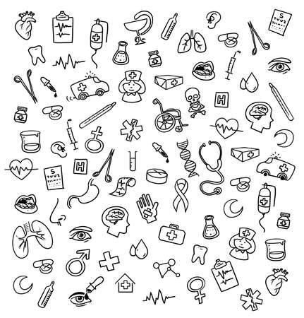 Medicine icons doodle photo