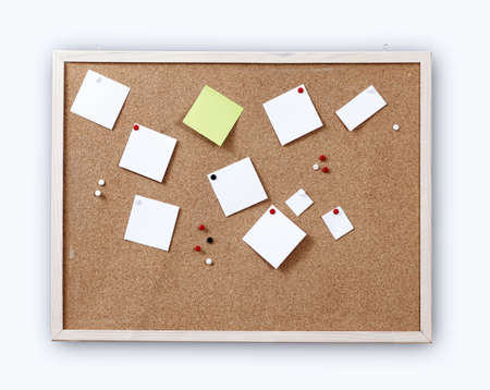 Cork board with blank notes photo