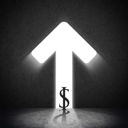 up arrow: Business Dollar with moving up arrow