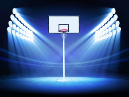 spotlight white background: Basketball hoop with spotlights