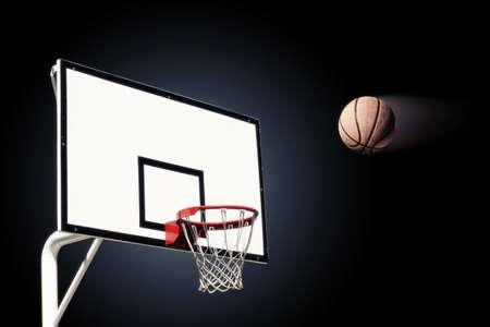 heading the ball: Basket ball heading the hoop Stock Photo