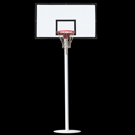 background basketball court: Basketball hoop isolated on a black background. Stock Photo