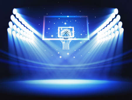 indoor court: Basketball hoop Stock Photo