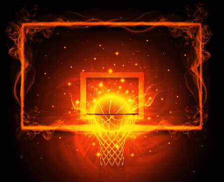 flames background: Basketball hoop Stock Photo