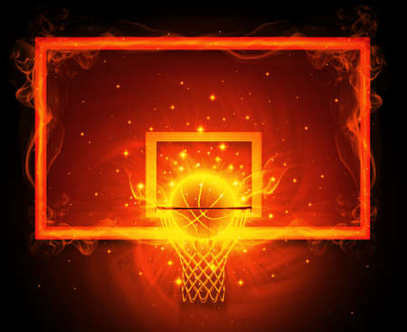 basketball ball on fire: Basketball hoop Stock Photo