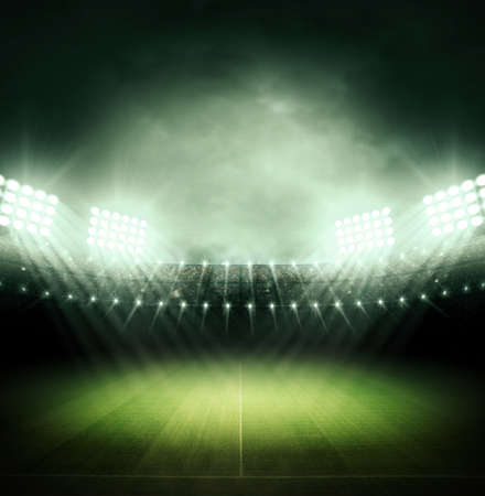 football fan: Stadium at night Stock Photo