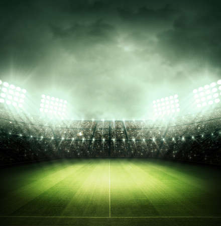 soccer game: Stadium at night Stock Photo