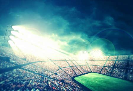 futball: Stadium at night Stock Photo
