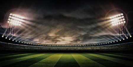 field hockey: Estadio noche oscura Foto de archivo