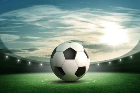 pelotas de deportes: Bal�n de f�tbol y estadio