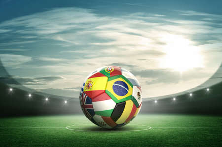 football pitch: Stadium and soccer ball Stock Photo